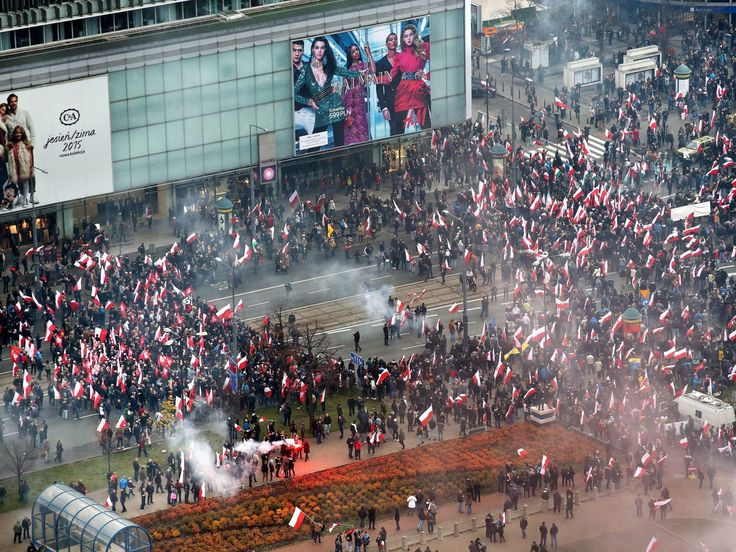 An aerial view shows Polish nationalists as they gather at the Palace of Science and Culture before the 'March of Independence' under the slogan 'Poland for the Poles, the Poles for Poland,' which is part of Polish Independence Day celebrations in Warsaw.  RAFAL GUZ, epa