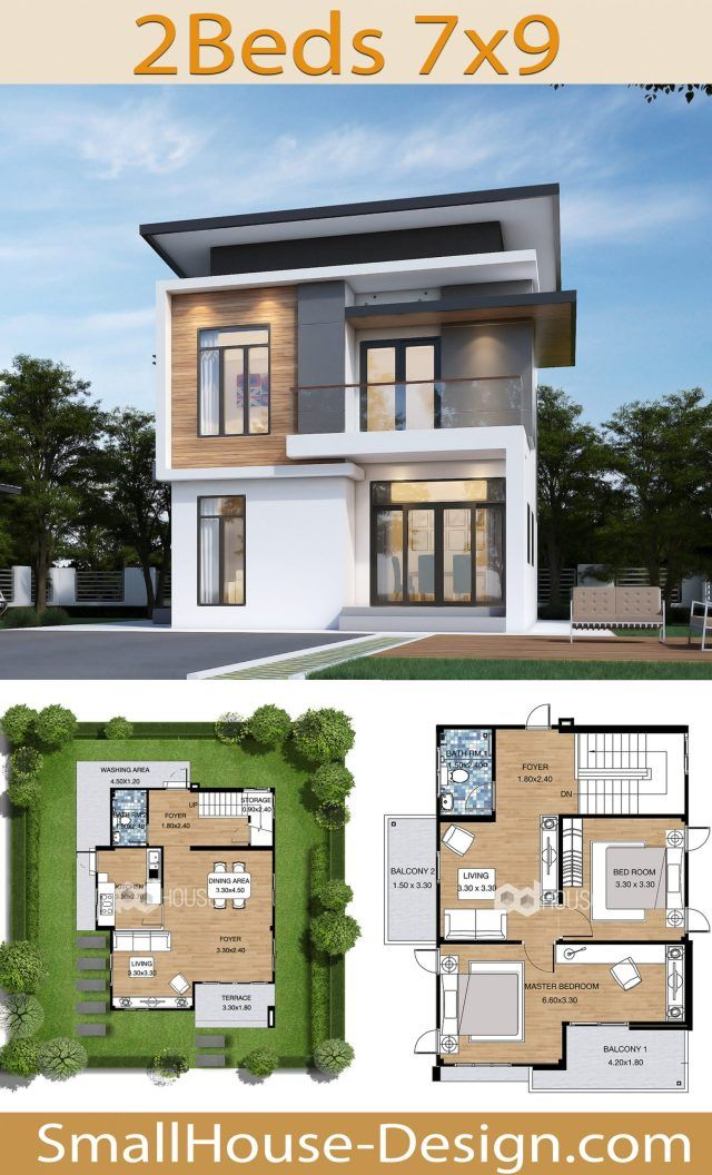 Small Modern House 7x9 Meters 2 Bedrooms Small House Design In 2020 Small House Design Small Modern Home House Design