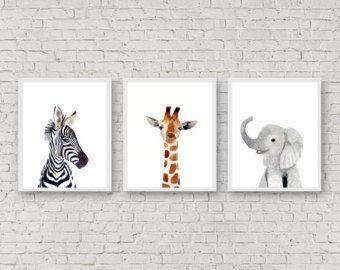 Los bebés de Safari, conjunto de grabados, pinturas de animales, cebra, elefante, jirafa, Original pintura, decoración de la pared de los niños, guardería, impresión del arte de los niños