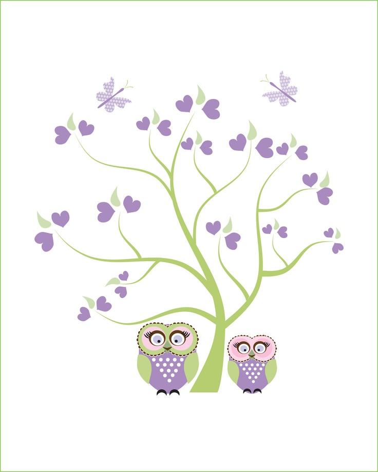 Purple owl wall art for girls, childrens art, art for babies room, girls room tree decor, owl wall decor, butterfly art, kids wall art. $12.00, via Etsy.