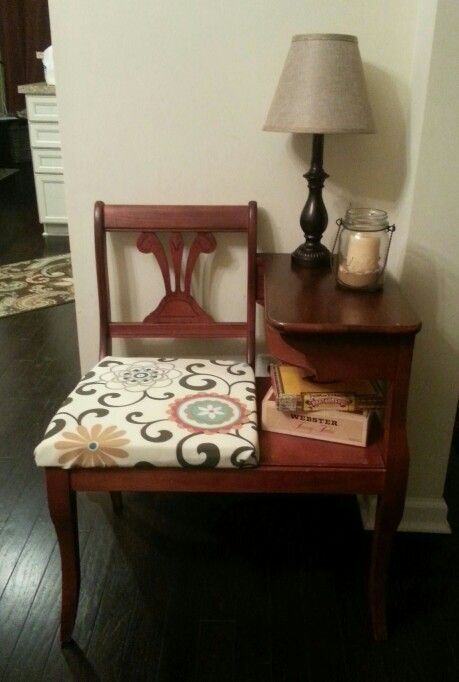 Vintage 1950's telephone table/gossip chair refinished and reapolsturd - 107 Best Vintage Telephone Tables Images On Pinterest Gossip Bench