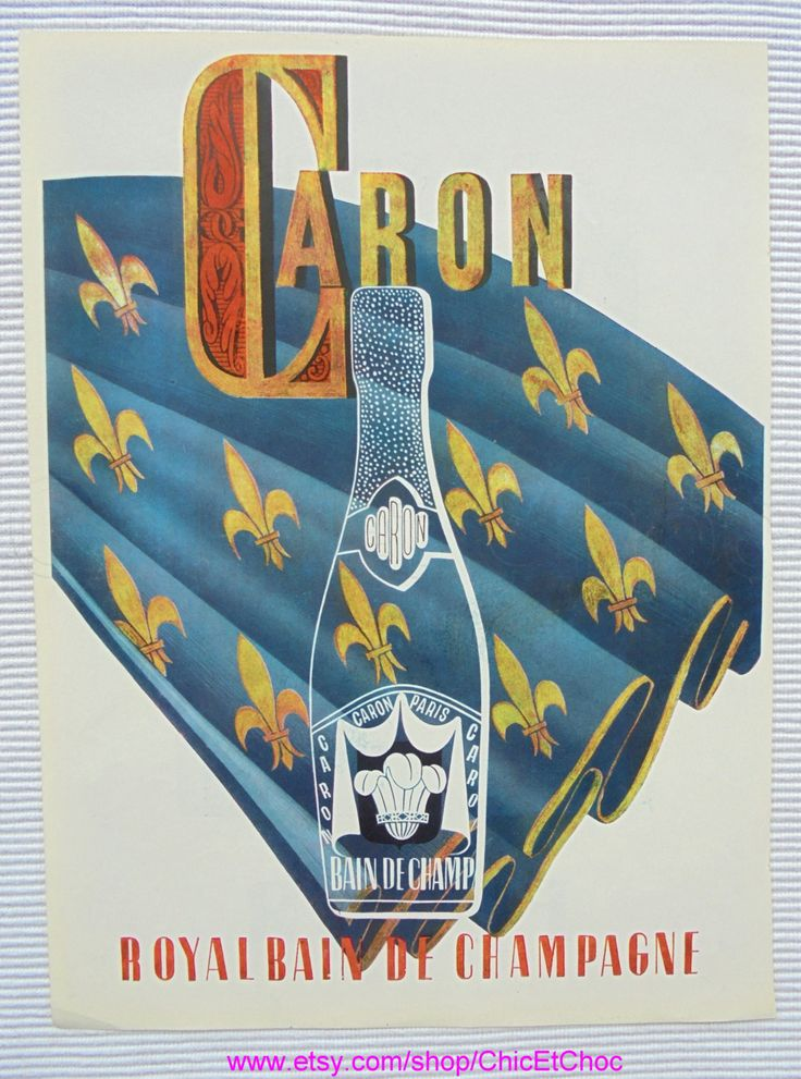 Genuine 1950's French Ad - Caron 'Royal Bain de Champagne' Perfume & Renoir 'Futur' Perfume by ChicEtChoc on Etsy