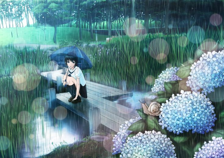 anime girl in rain with flowers | Pretty anime style pics ...