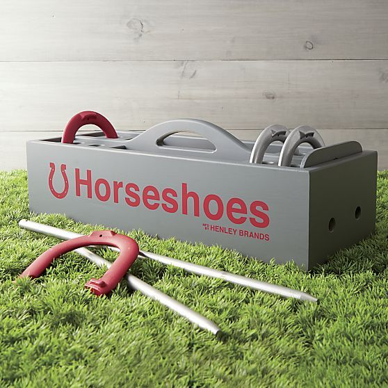This classic throwback game will have you throwing horseshoes forward in a return to the leisurely lawn sport. Henley Brands's regulation-size horseshoe set of steel pegs and horseshoes is conveniently packaged in a farrier-style carrying trug with handle and slide-out door locks that peg in place for secure transport.
