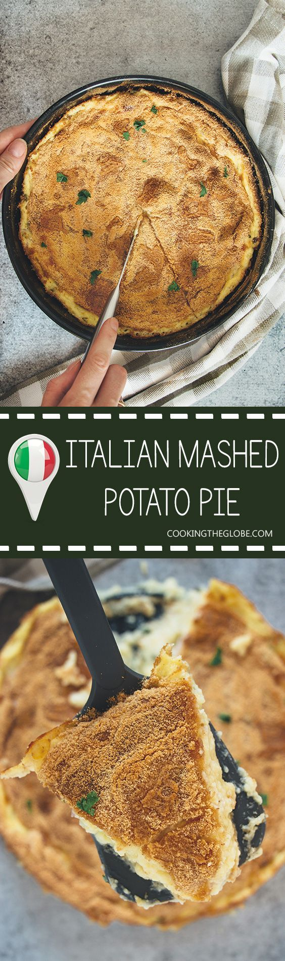 This Italian mashed potato pie is creamy, comforting, and crazy delicious. Featuring three types of cheese and two types of meat, it makes a great side or even a main dish! | cookingtheglobe.com #italianDishes