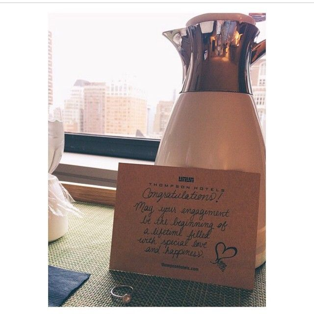 We're Sending up #intellegentsia coffee to the room of @franciepants12 who got engaged at Thompson Chicago last night. Congratulations! #thompsonhotels