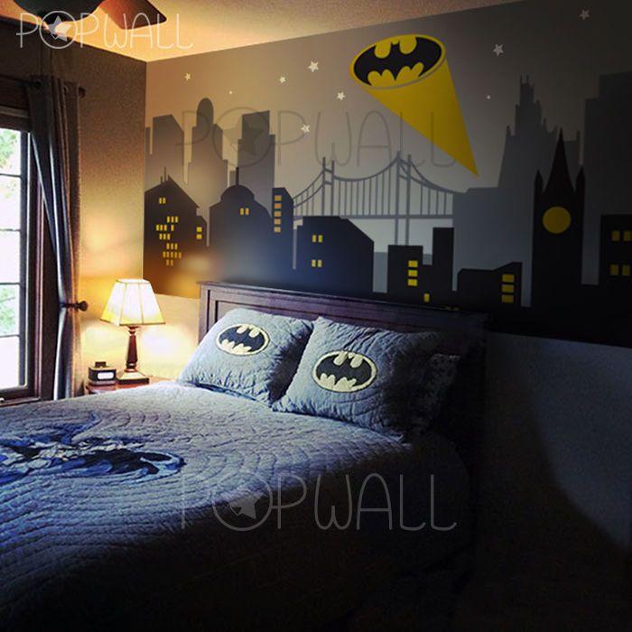 Best 25 superhero wall lights ideas on pinterest super hero gotham city batman light new york cityscape superhero wall decal sticker for kid mozeypictures Choice Image