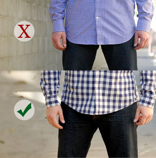 How long should the front be of an untucked button up shirt... look and learn