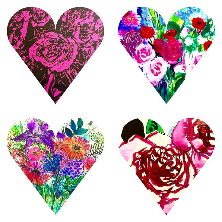 Bright floral hearts, Carol Clough