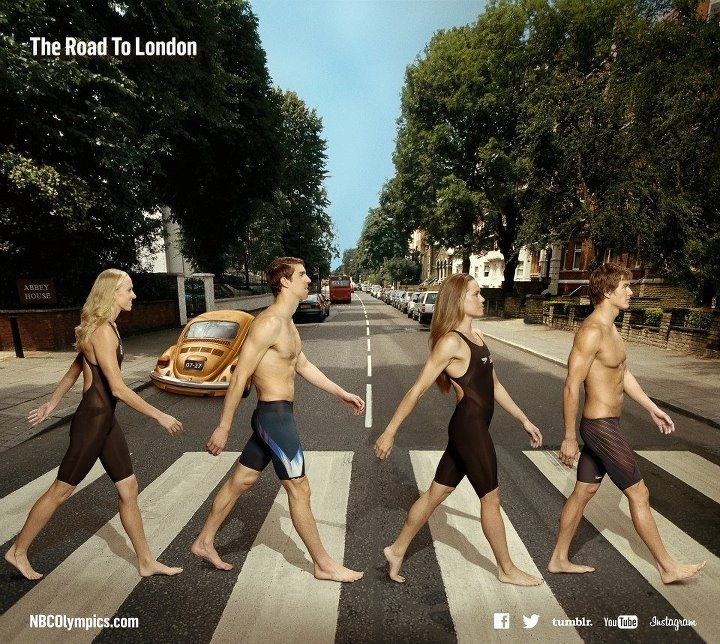 Members of USA Swimming cross Abbey Road. — with Dana Vollmer, Michael Phelps, Natalie Coughlin and Nathan Adrian. #london2012