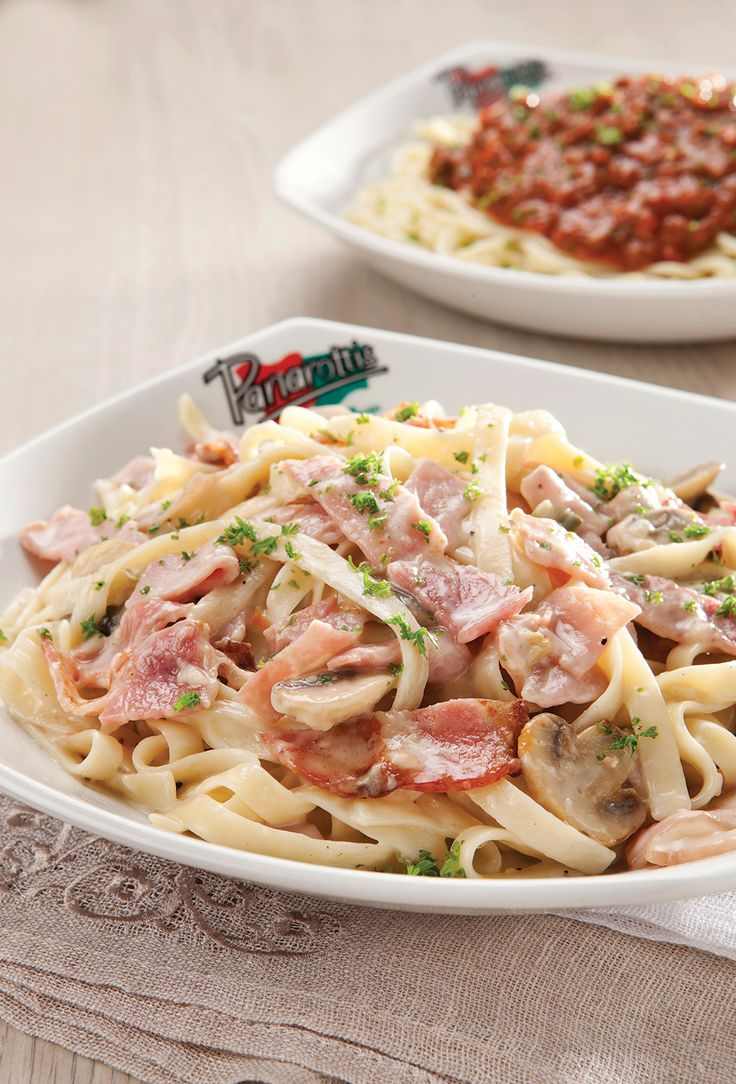 Alfredo Pasta. Crispy bacon, ham and sliced button mushrooms in a rich, cream-based sauce | Panarottis http://www.panarottis.co.za/ourmenu/pastas