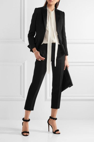 Alexander McQueen - Pussy-bow Ruffled Silk-georgette Blouse - White - IT44