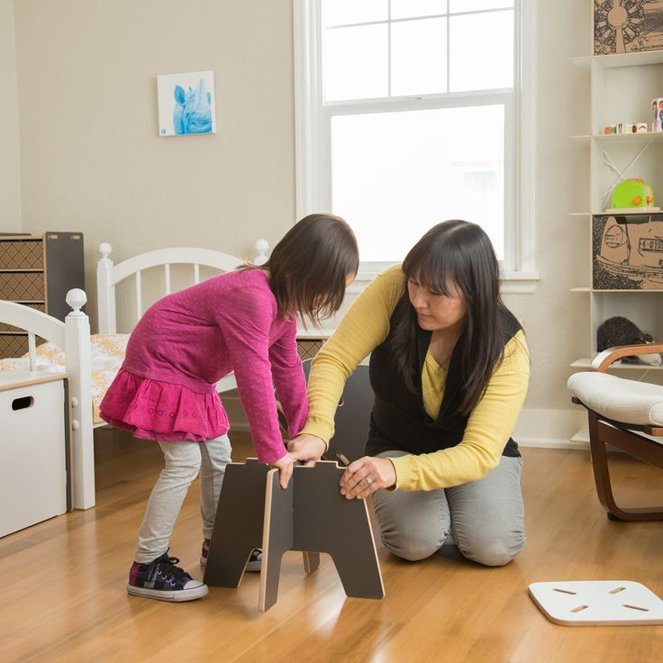 Sprout kid stools are so easy to assemble that your children can help put them together!