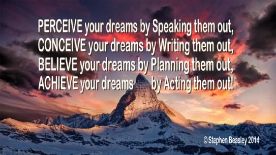 To bring Dreams into reality requires us to go through the process of Perceiving, Conceiving, Believing and Achieving, till it manifests!
