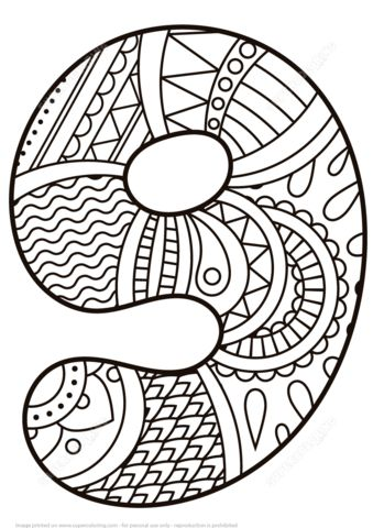 Number 9 Zentangle coloring page from Zentangle Numbers category. Select from 21162 printable crafts of cartoons, nature, animals, Bible and…