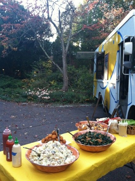 side dishes at the food truck wedding buffet table