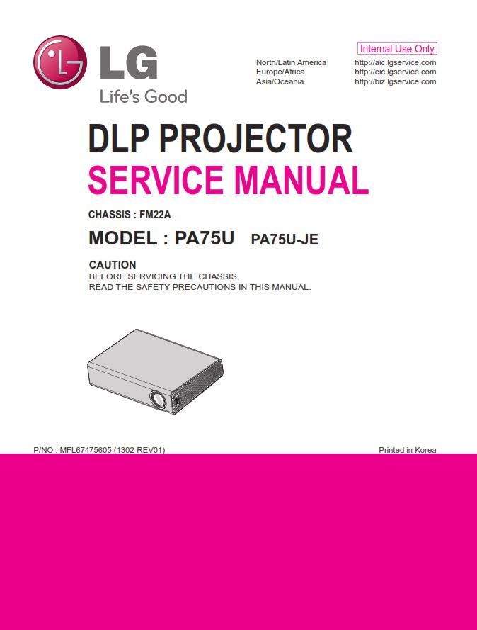 Lg Pa75u Projector Service Manual And Repair Guide Repair Guide Electronic Circuit Projects Manual