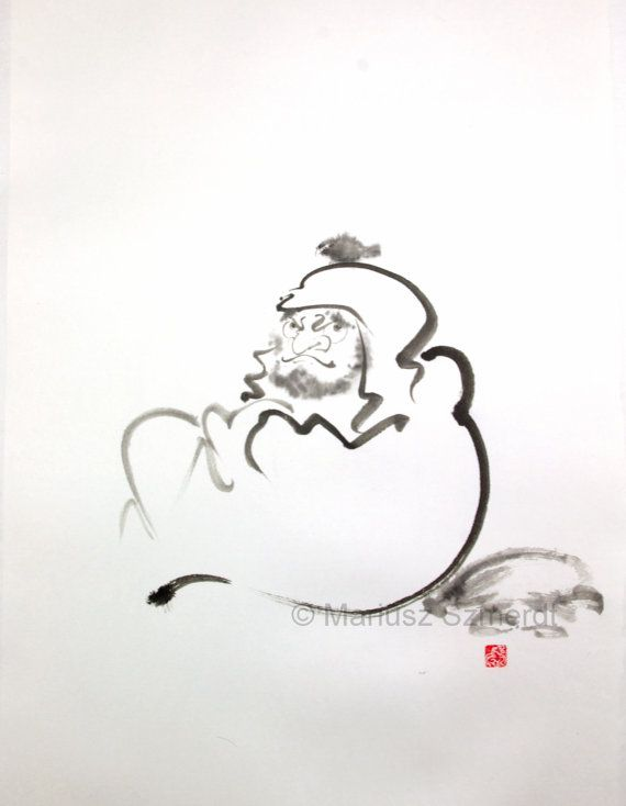 "Master and a bird Daruma Zen Bodhidharma buddhism ink painting 22""x15"" monk birds"
