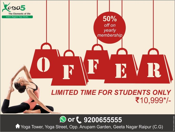 Benefit your mind and body with Yoga5. Exclusive offer for students all year round. Hurrrry uppp!!!! #Yoga, #Yoga5, #Raipur, #India, #Chhattisgarh, #Health, #Fitness