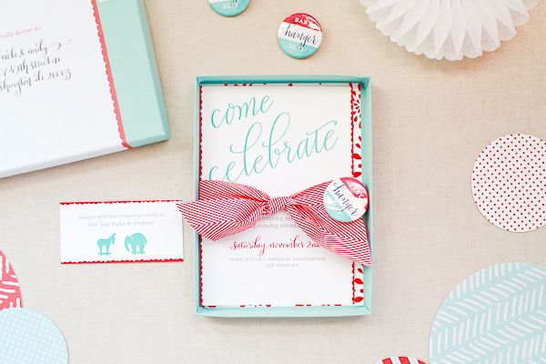 maggie + trevor's campaign-inspired baby shower: the invitations, Baby shower invitations