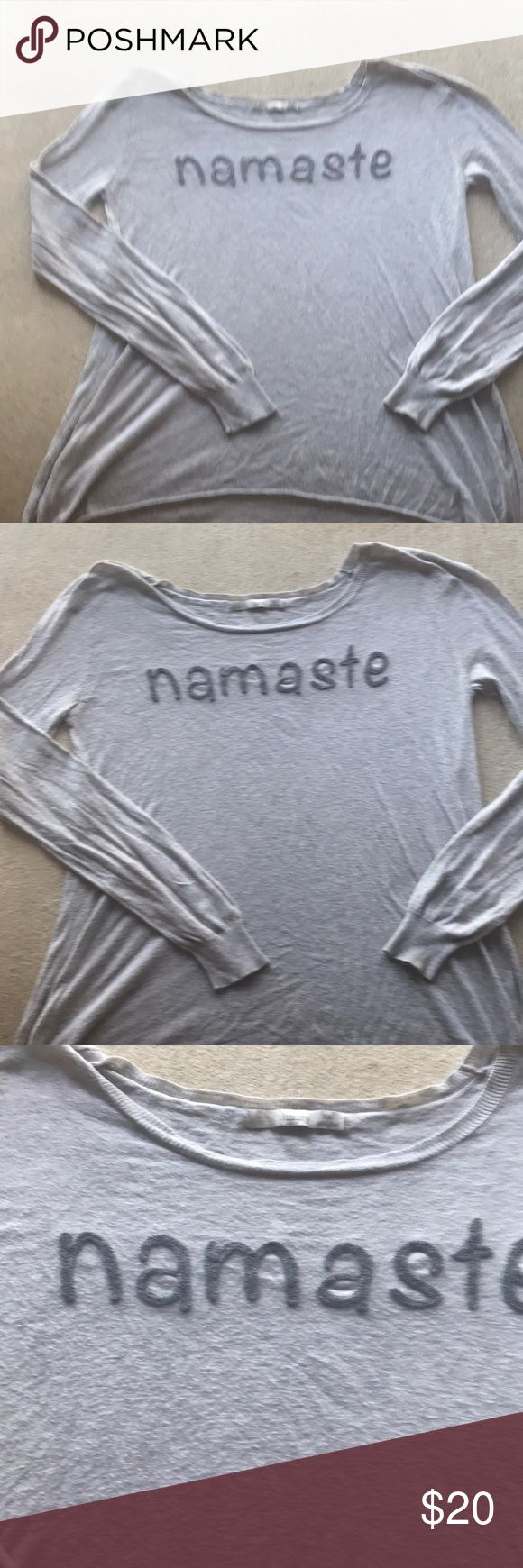 PRE-LOVED AWESOME MESSAGE SWEATER / TEE MADE BY SUBTLE LIXURY THIS THIN  SWEATER / TEE HAS MADE ME FEEL GOOD MANY A DAYS AND REMINDED ME TO TAKE IT EASY! Namaste is embroidered in a darker gray on a heather grey background! JUST A GREAT FEEL GOOD EVERYDAY COZY PIECE AND IM CALM NOW SO I SHALL PASS IT ALONG! THERE IS SOME WEAR AND LITTLE NUBBIES BUT THE MESSAGE IS CLEAR ! SIDE SLITS Subtle Luxury Sweaters Crew & Scoop Necks