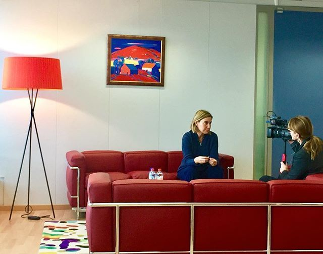 #dailylife @work : #HRVP Federica #Mogherini recording an interview in her #office . #Brussels #Belgium #EU #Defence