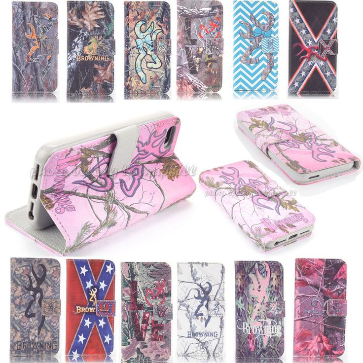 Realtree Browning deer Camo Wallet Flip Leather case for Iphone Samsung A1-0007 #MAPSELL