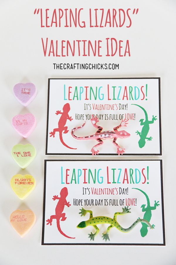 Leaping Lizards Valentine idea - An easy non-candy printable that your kids will...