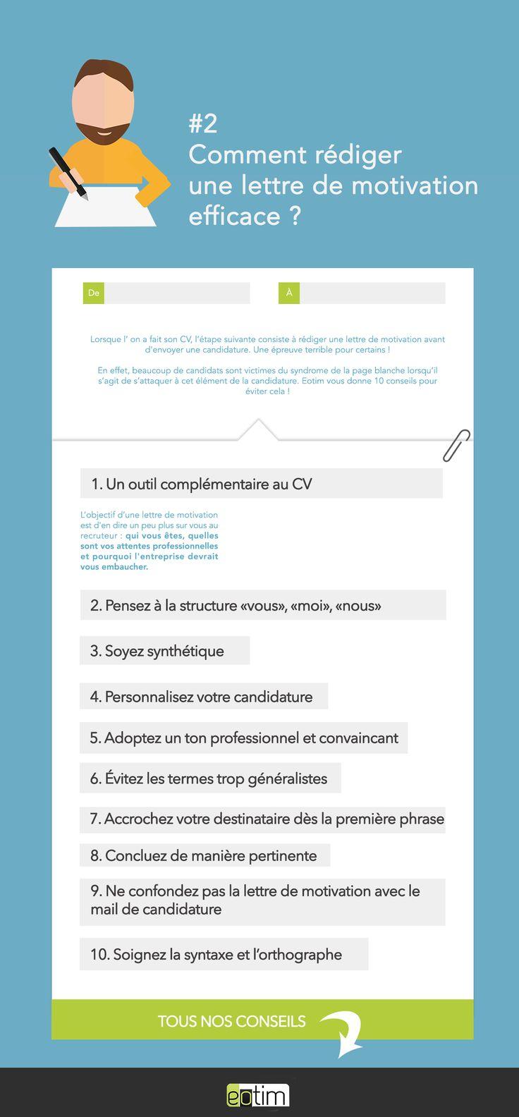 Comment rédiger une lettre de motivation efficace ? | #cv #job #emploi #tips #astuce #help #recrutement #infographie