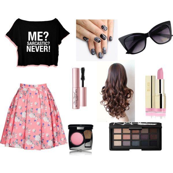 Casual college fashion by onestepupinlife-1 on Polyvore featuring polyvore fashion style ERIN Erin Fetherston Chanel Too Faced Cosmetics alfa.K NARS Cosmetics