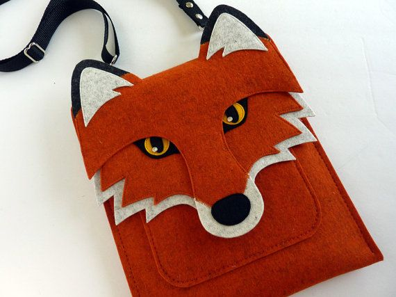 Handmade Red Rust Colored Fox iPad mini felt case