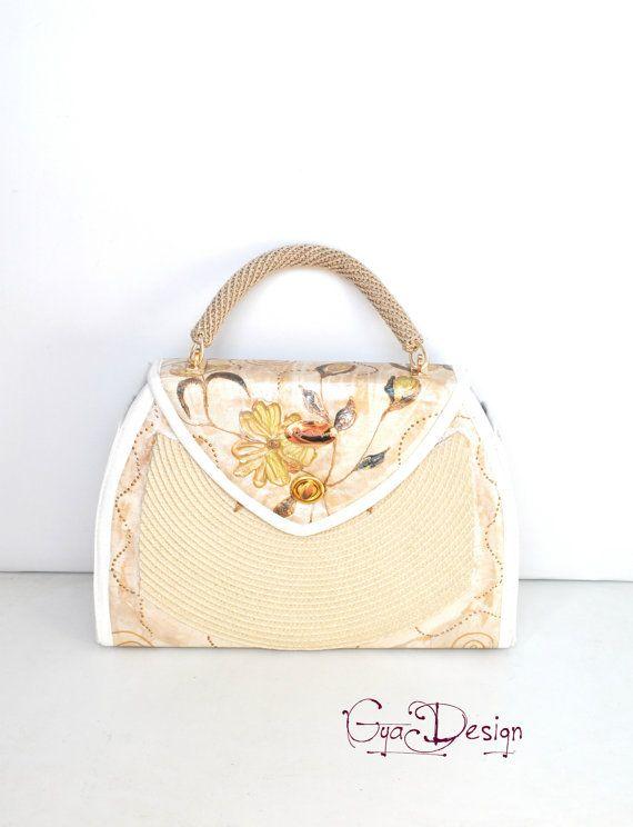 Beige hand painted purse handbag with painted flowers luxury