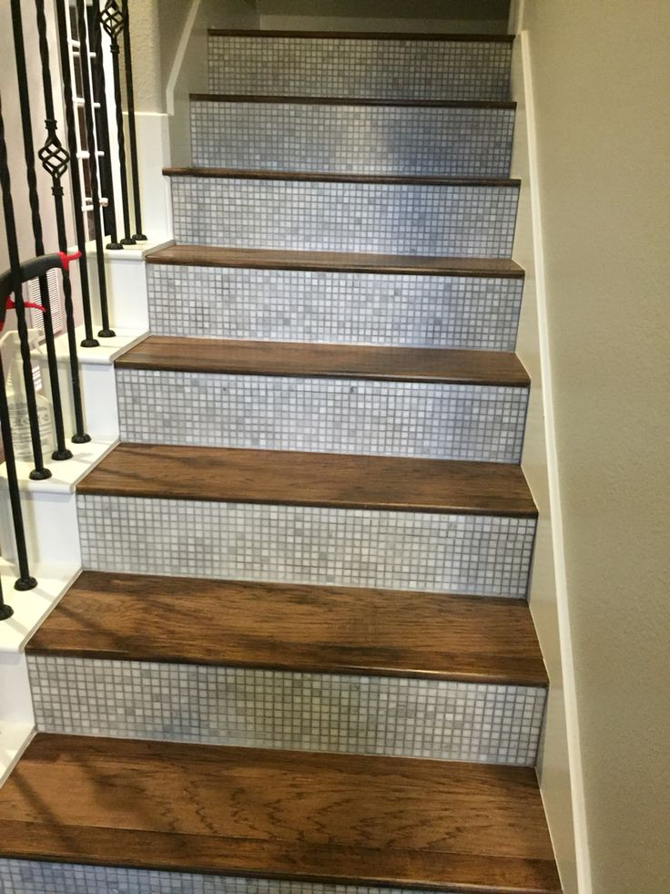 Tile Stair Risers with Hickory steps. | Wood , Laminate ...