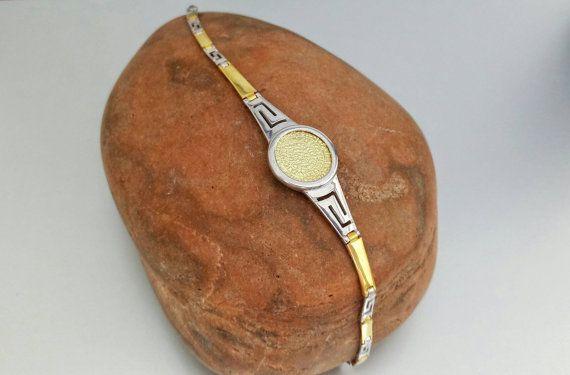 Phaistos disc golden silver meander bracelet by ThetisTreasures