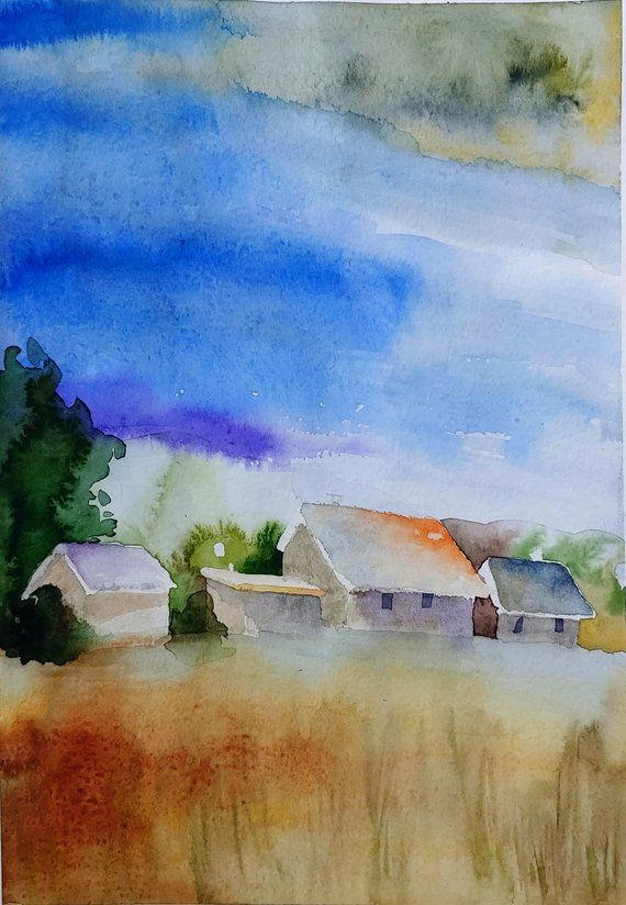 Watercolor Painting Of Blue Landscape Painting Of A Scenery The