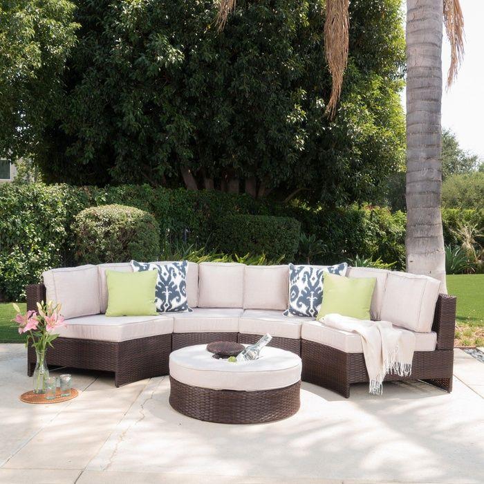Riviera Ponza Outdoor Patio Furniture Wicker 4 Piece Semicircular Sectional  Sofa Seating Set W/ Waterproof Part 71