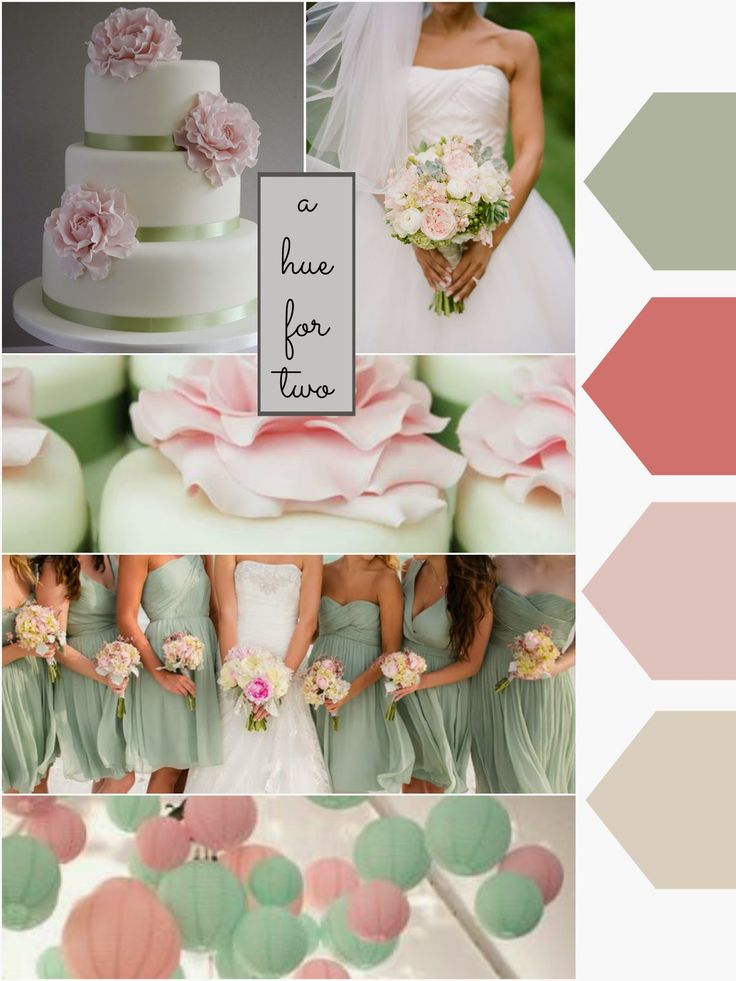 A Hue For Two Wedding Colour Schemes Pastel Light Sage Pink