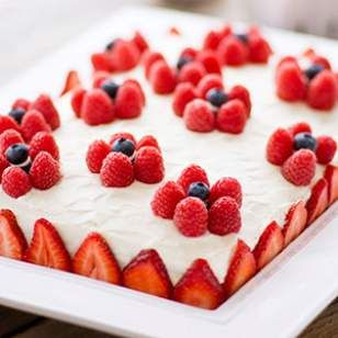 Frosting & Decoration      12 ounces reduced-fat cream cheese (Neufchâtel), at room temperature     1/2 cup confectioners' sugar     3 tablespoons low-fat plain Greek yogurt     1/2 teaspoon vanilla extract     1 1/2 cups raspberries     1/2 cup blueberries     2 cups strawberries, sliced