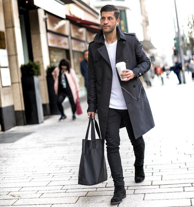 Black Jeans Outfit, All Black Trench Coat Outfit