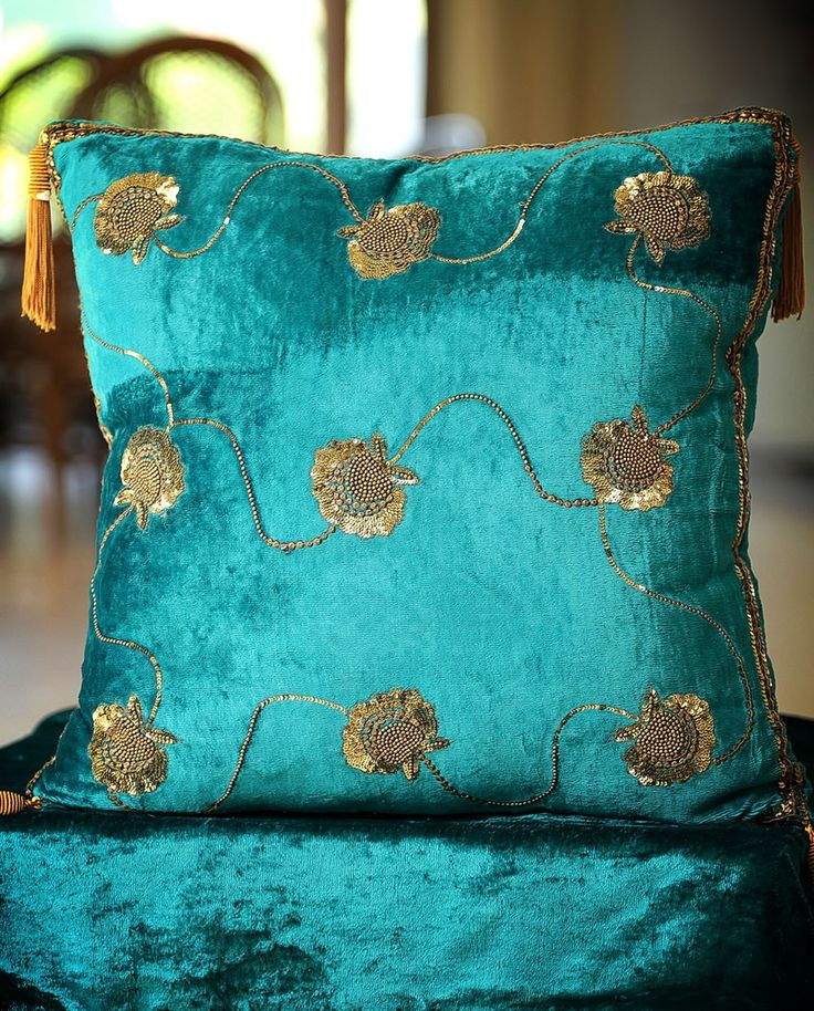 Turquoise blue decorative Velvet cushion with embroidery