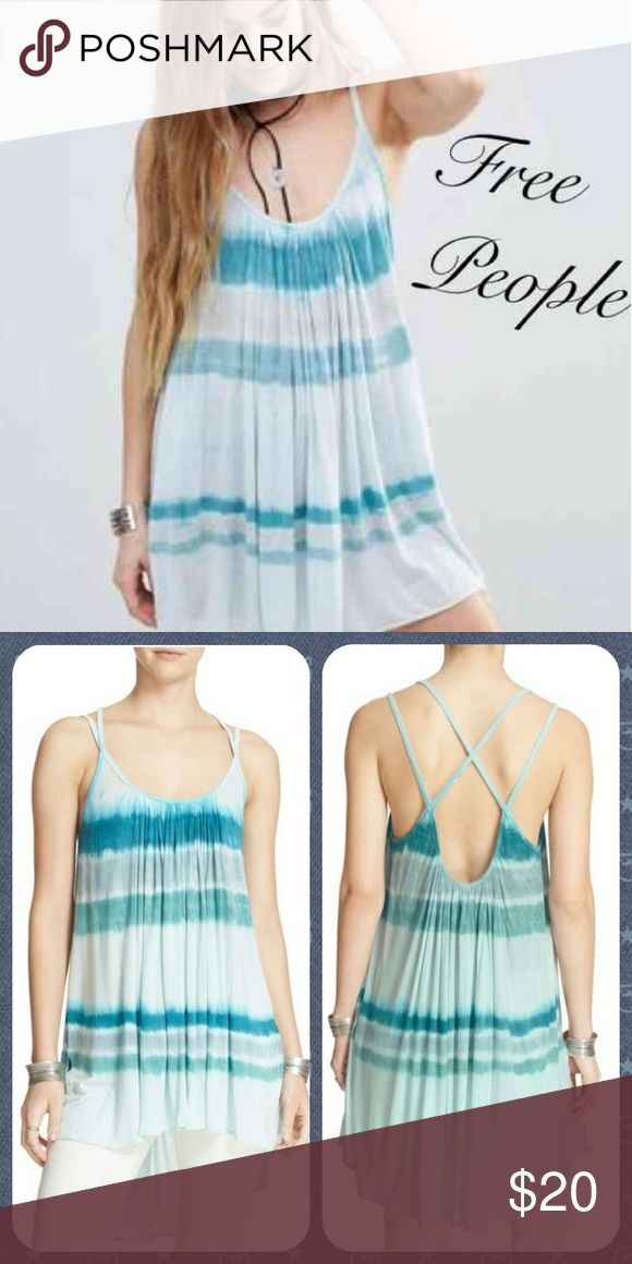 "Free People Fly Away Tank Tie dye stripes and strappy shoulders style the Fly Away Tank, cut from a rib knit so lightweight that you'll take flight.  - Scoop neck - Sleeveless - Side vents - Hi-lo hem - Approx. 30"" shortest length, 35"" longest length,   Fiber Content 92% modal, 8% spandex  Aqua marine colorway. Size extra small. Brand new with tags! View my 'About Me' page for info on purchasing this cheaper! <3 Free People Tops Tank Tops"