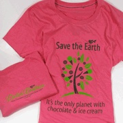 """Save the Earth....It's the only planet with chocolate & ice cream"" on the front. On the back of the shirt below the collar it reads ""Dietsch Brothers, Fine Chocolates & Ice Cream Since 1937, Findlay, Ohio"""