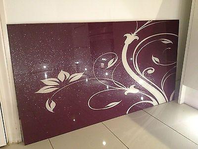 Purple Glass Splashback 110cmx75cm With Cream Natola