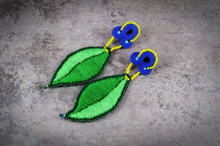 Emroidered Soutache Earrings by AnnaZukowska on Etsy