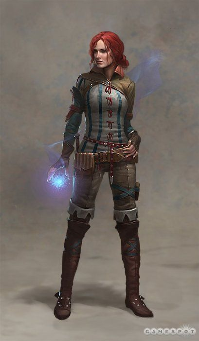 Nice outfit, wizard lady! - Concept art (Triss Merigold) for The Witcher by Projekt Red (via Women Fighters in Reasonable Armor) #badasswomen