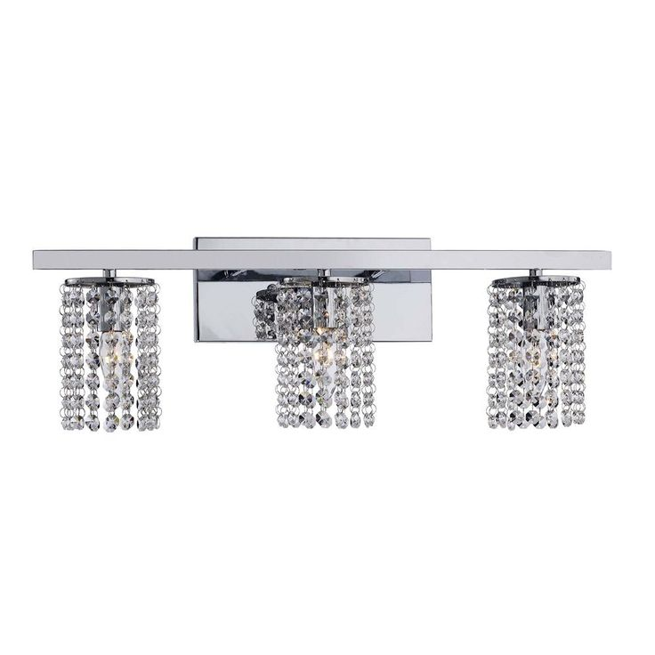 Chrome and crystal 3 light round shade wall sconce by the for Chrome bathroom sconce with shade