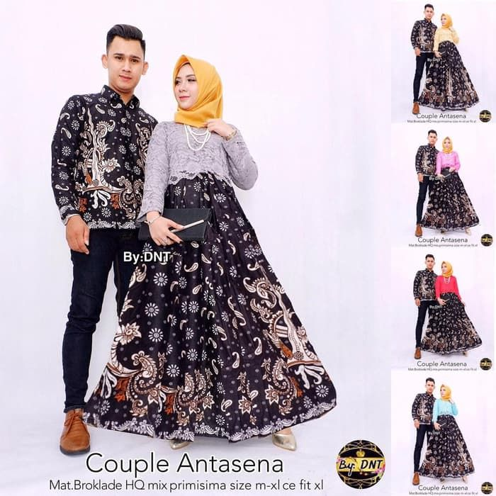 Model Baju Couple Batik Kombinasi Brokat