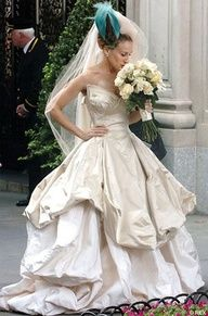 Sarah Jessica Parker as Carrie Bradshaw wearing Vivienne Westwood on her wedding day in Sex and The City: The Movie.