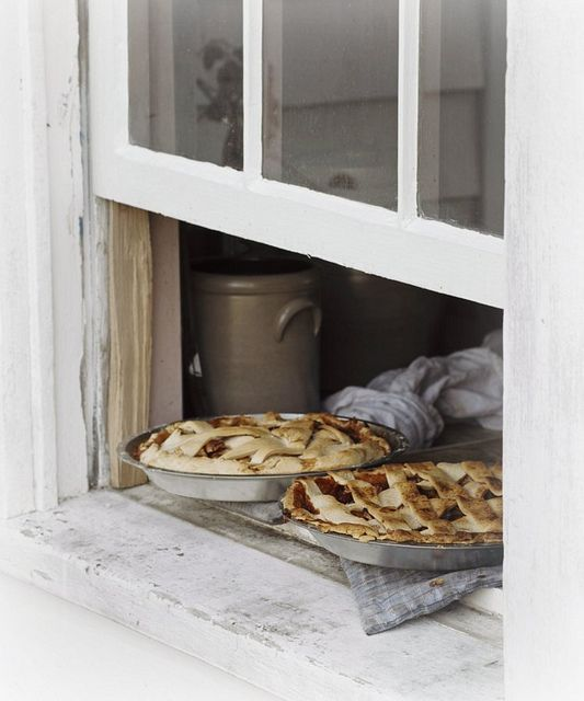 Cooling pies on the windowsill. I don't think they'd have pies very often because of how many people they have to cook for, but maybe on occasion or for smaller groups. Well, maybe not... If there are 100 people and say 10 slices per pie, that's only 10 pies to make!