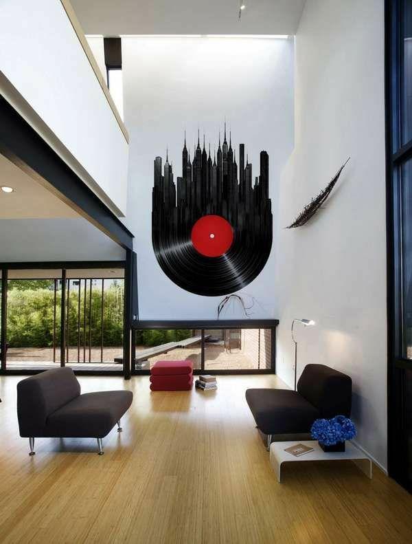 schallplatten Wandgestaltung mit Farbe wand streichen ideen - wohnzimmer gestalten rot